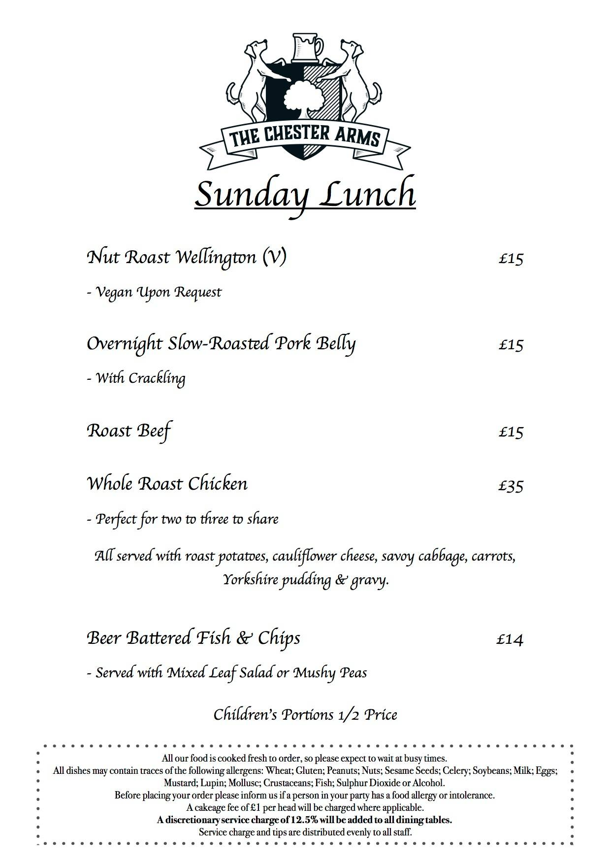 Chester Arms Oxford Sunday Lunch Menu